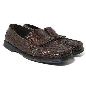 TOD'S Gommino Kiltie snakeskin driving shoes sz 39